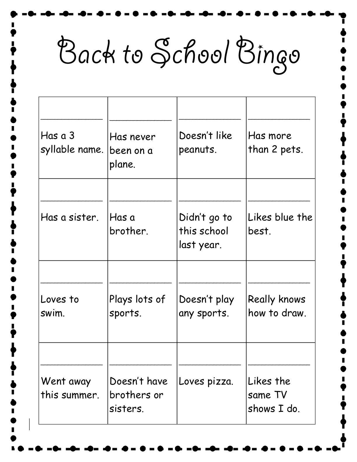 Back To School Bingo School Worksheets 1st Day Of School First Day Of School Activities [ 1584 x 1224 Pixel ]