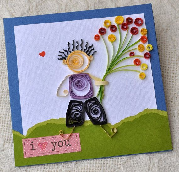 Paper Quilling Valentine Card Quilled Card by PaperSimplicity