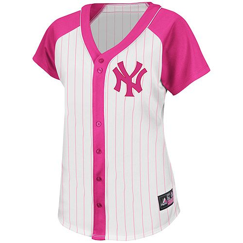 967898a62 New York Yankees Women s Pink Splash Fashion Jersey by Majestic Athletic -  MLB.com Shop