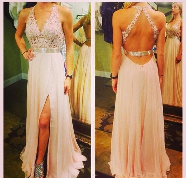 Light Pink Prom Dresses,Chiffon Backless Prom Dress,A Line Prom Dress,Long Prom Gown With Lace Appliqued,Elegant Prom Dresses,Open Backs Party Dress PD20185294