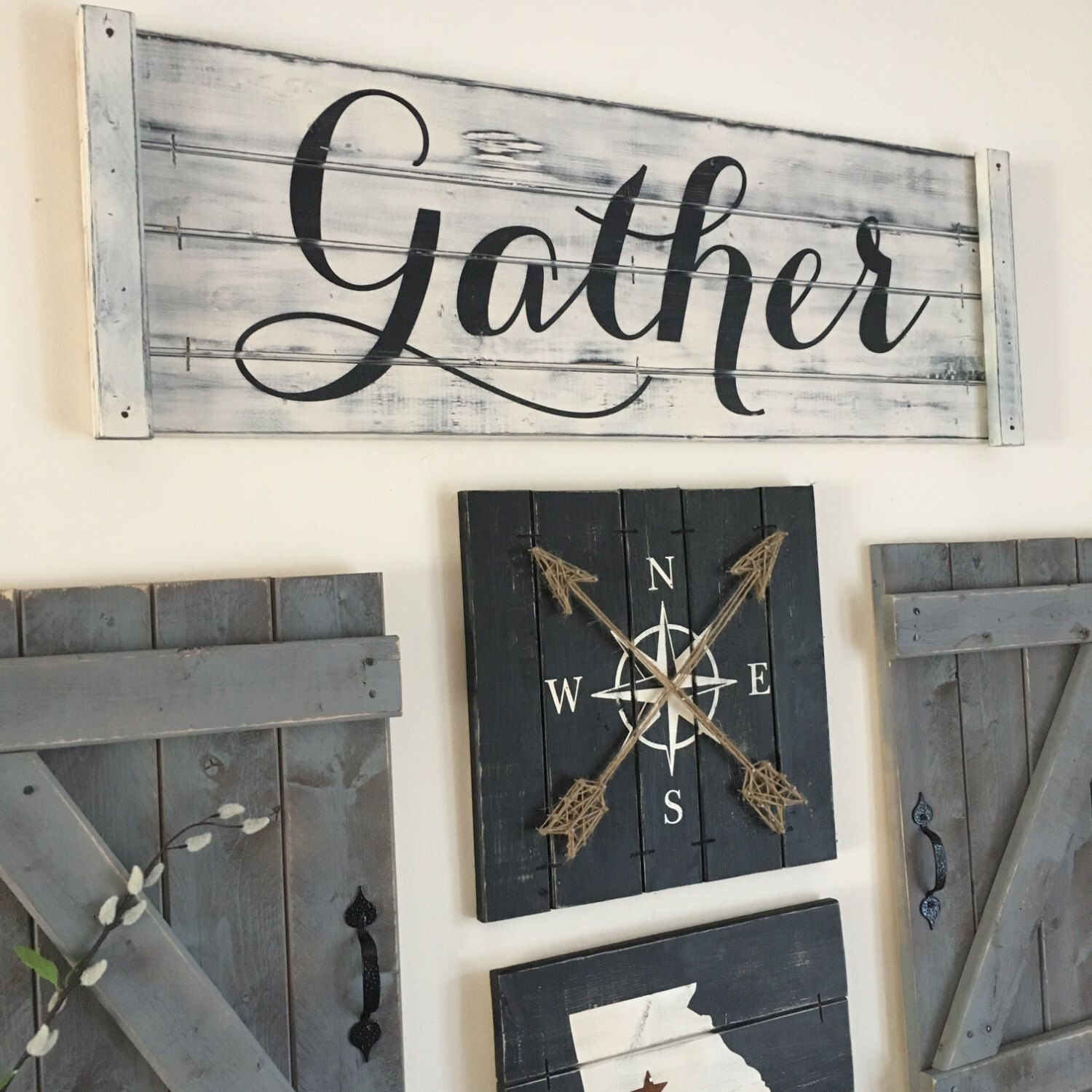 GATHER SIGN, Rustic Gather Sign, Wood Gather Sign, Large Gather Sign, Dining