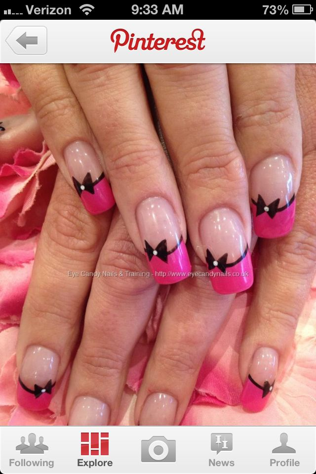 Pink French tips with bow nail design | Nails | Pinterest | Bow nail ...