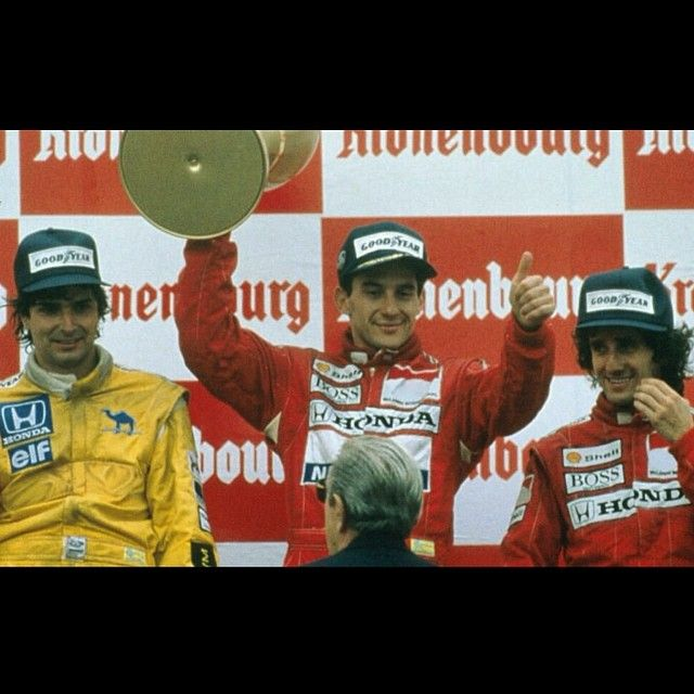 Ayrton,the winner with Nelson Piquet and Alain Prost .