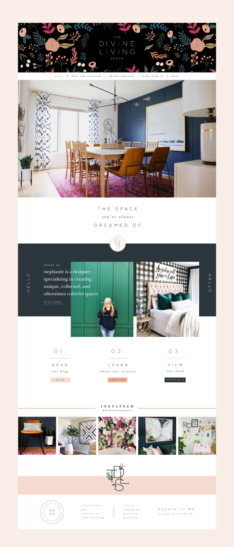 Desktop Website Design For The Divine Living Space Home Page