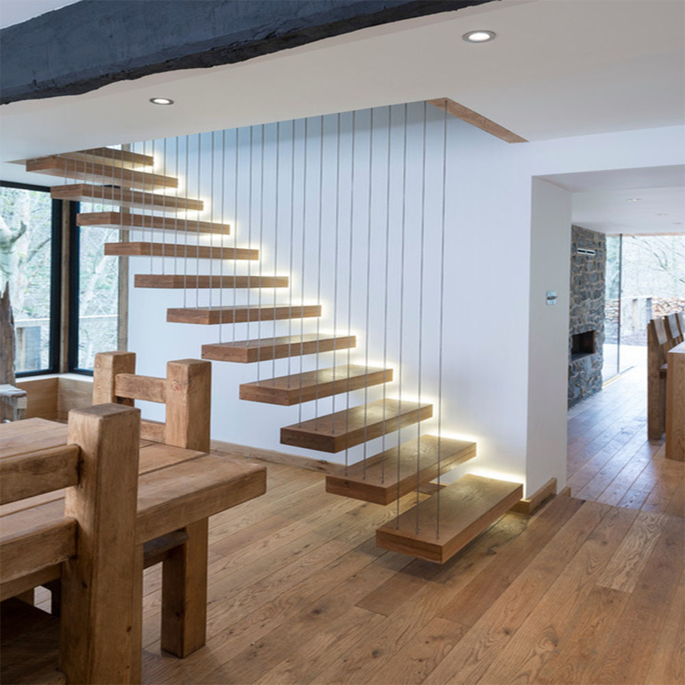 [Hot Item] Interior Glass Wall Railing Floating Staircase