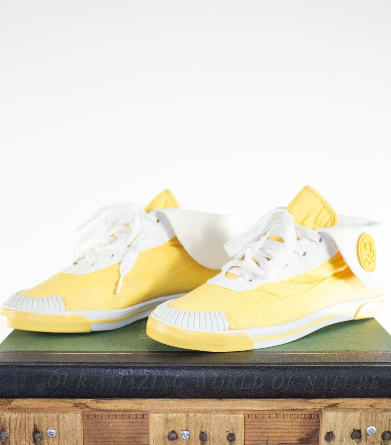 Vintage Yellow Sneakers | 90s United Colors of Benetton Shoes | Chuck  Taylor Style High Tops