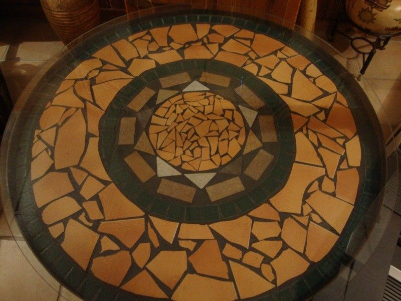 RUSTIC MOSAIC ART | Mosaic Tile Rustic Round Table With Wrought Iron Base  And Glass Top