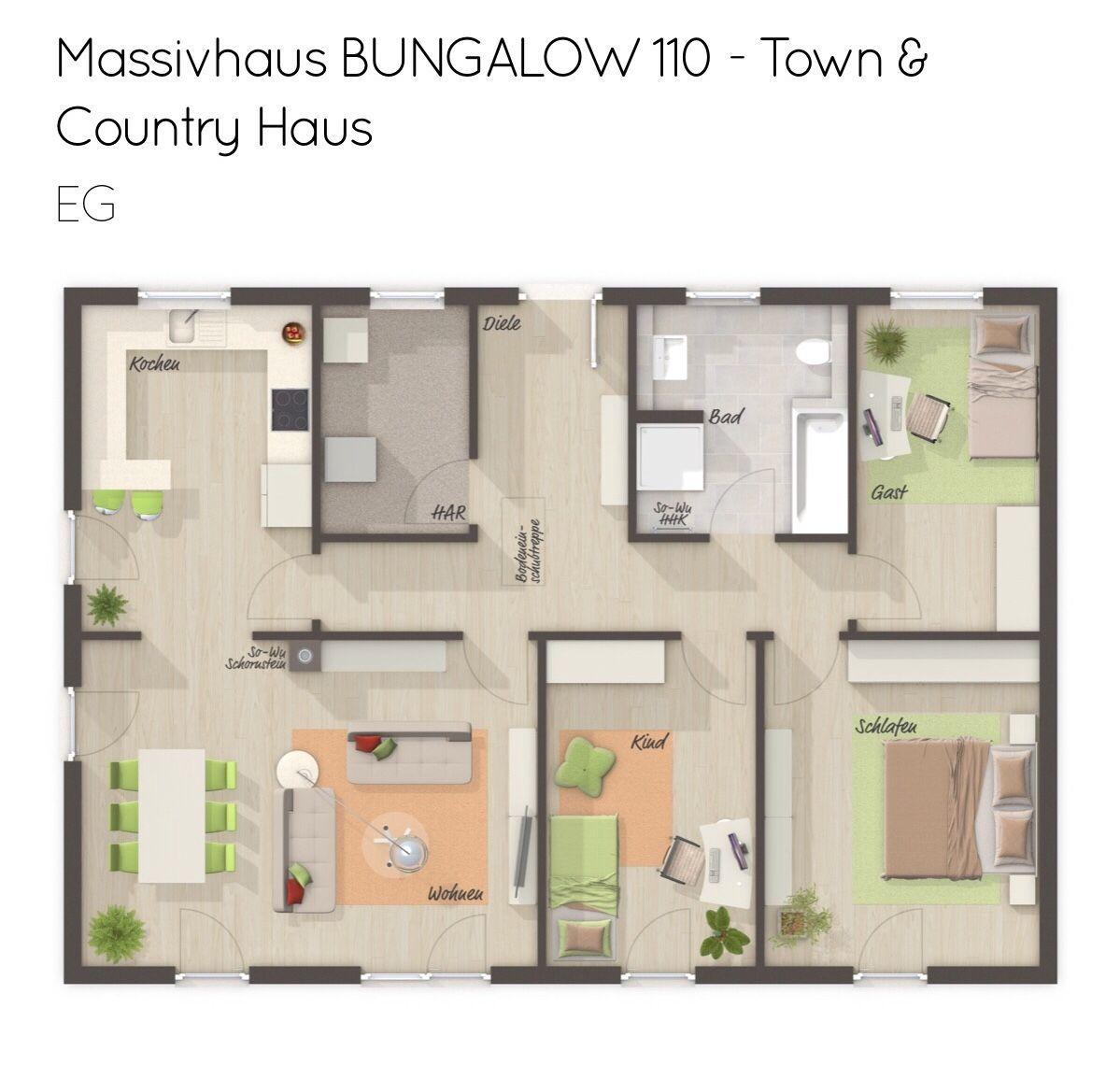 Grundriss Bungalow rechteckig mit Walmdach Architektur 4