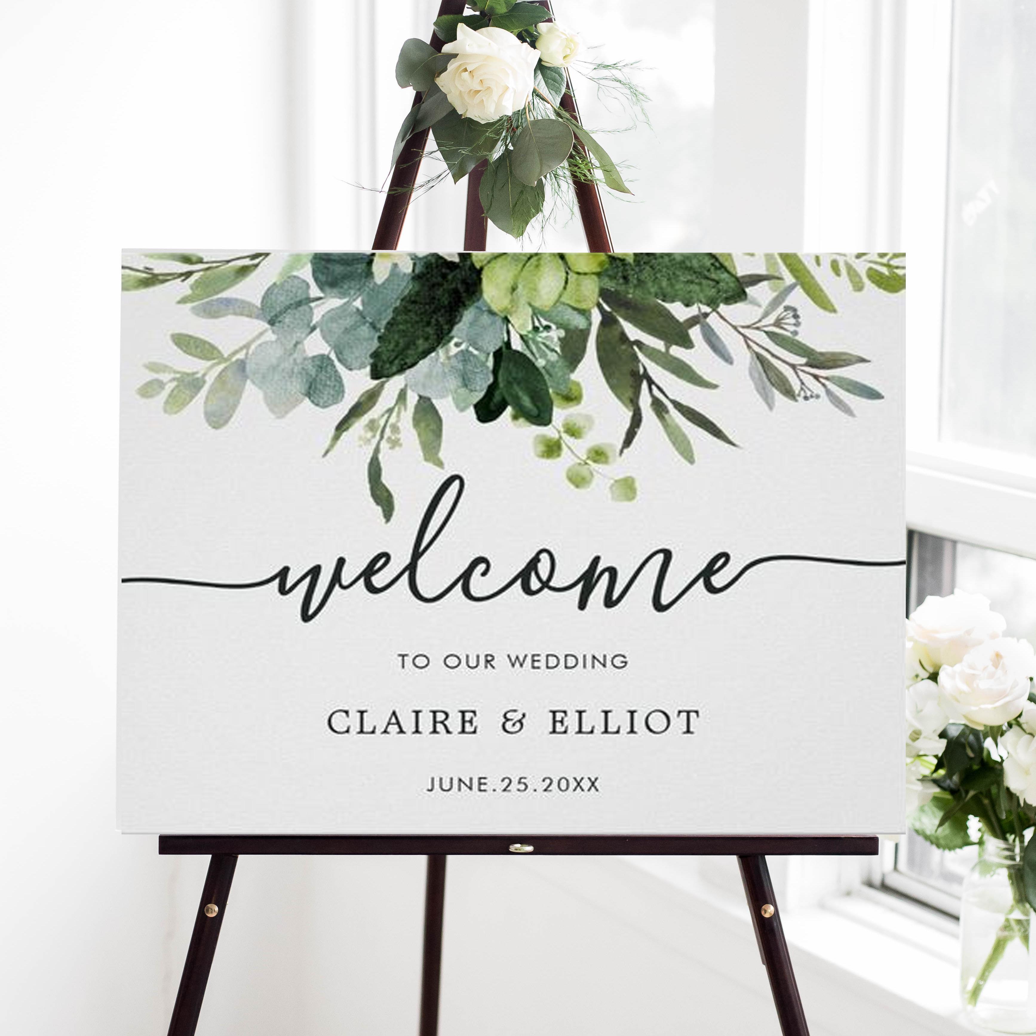 Eucalyptus Green Foliage Wedding Welcome Sign | Zazzle.com
