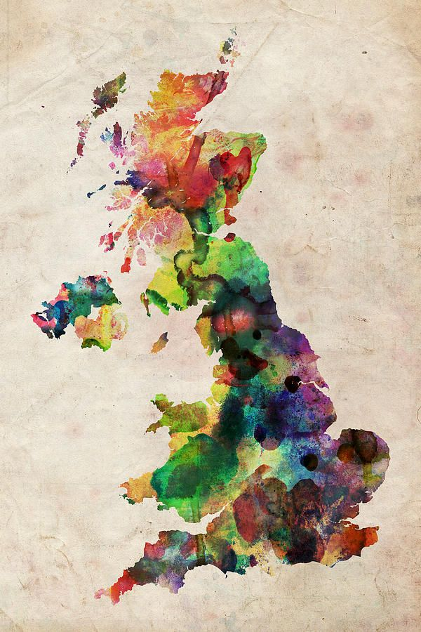 United Kingdom Watercolor Map By Michael Tompsett Watercolor Map