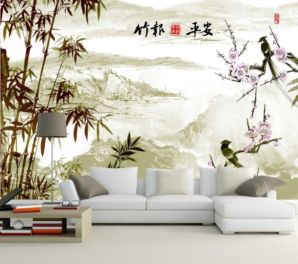 papier peint chinois paysage avec les bambous et les oiseaux mural ideas pinterest. Black Bedroom Furniture Sets. Home Design Ideas
