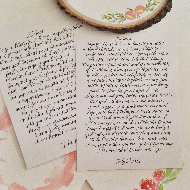 Calligraphy Vow Art Modern Hand Written Anniversary Gift Ideas Wedding Decor