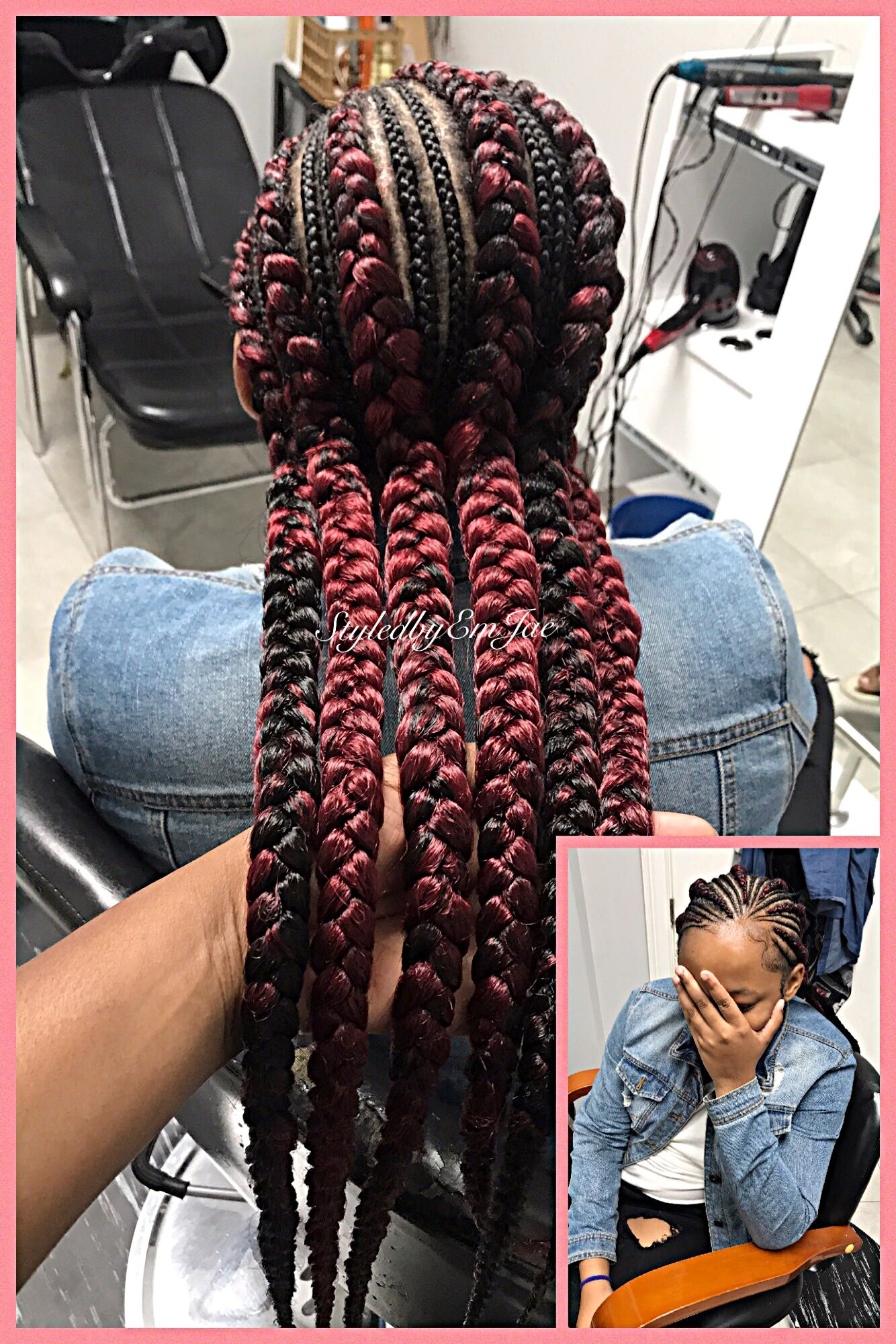 Feed In Braids Burgundy Braids With Weave Cornrows