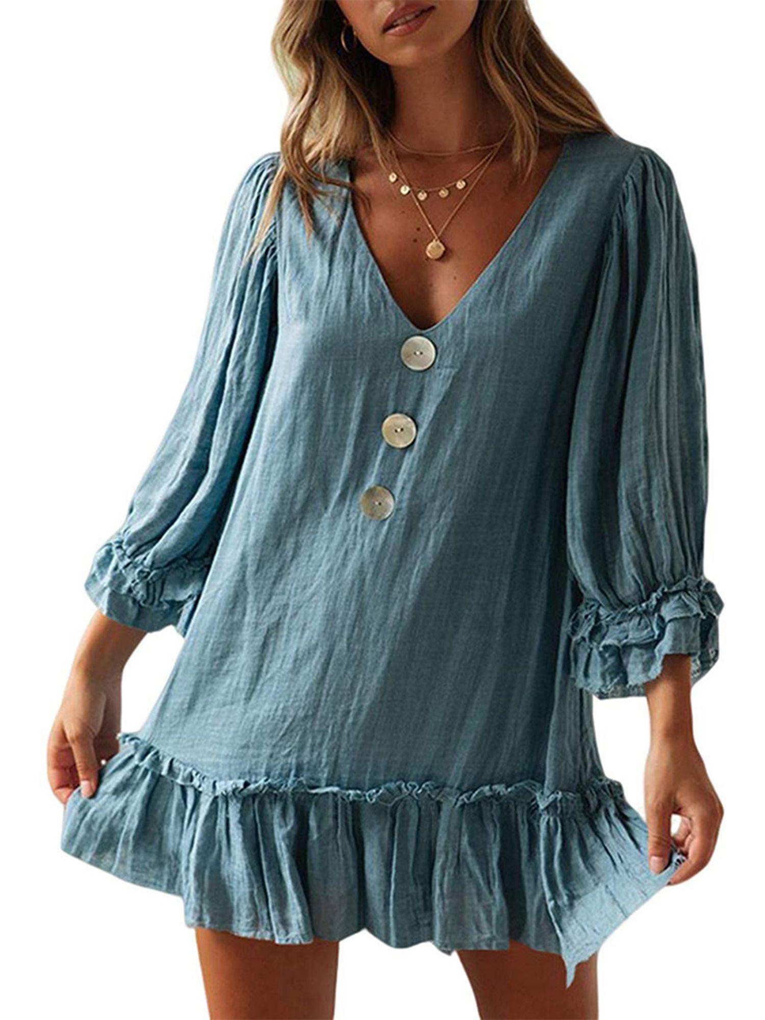 Women Cotton Linen Short Mini Dress Long Sleeve Button Down V Neck Ruffle Hem Dress Ladies Fashion Party Shirt Dress Short Mini Dress Short Swing Dress Fashion [ 2000 x 1500 Pixel ]