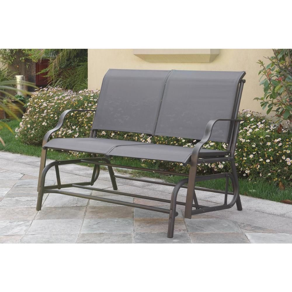 Combine fun and style with a textilene glider loveseat the feature a ...