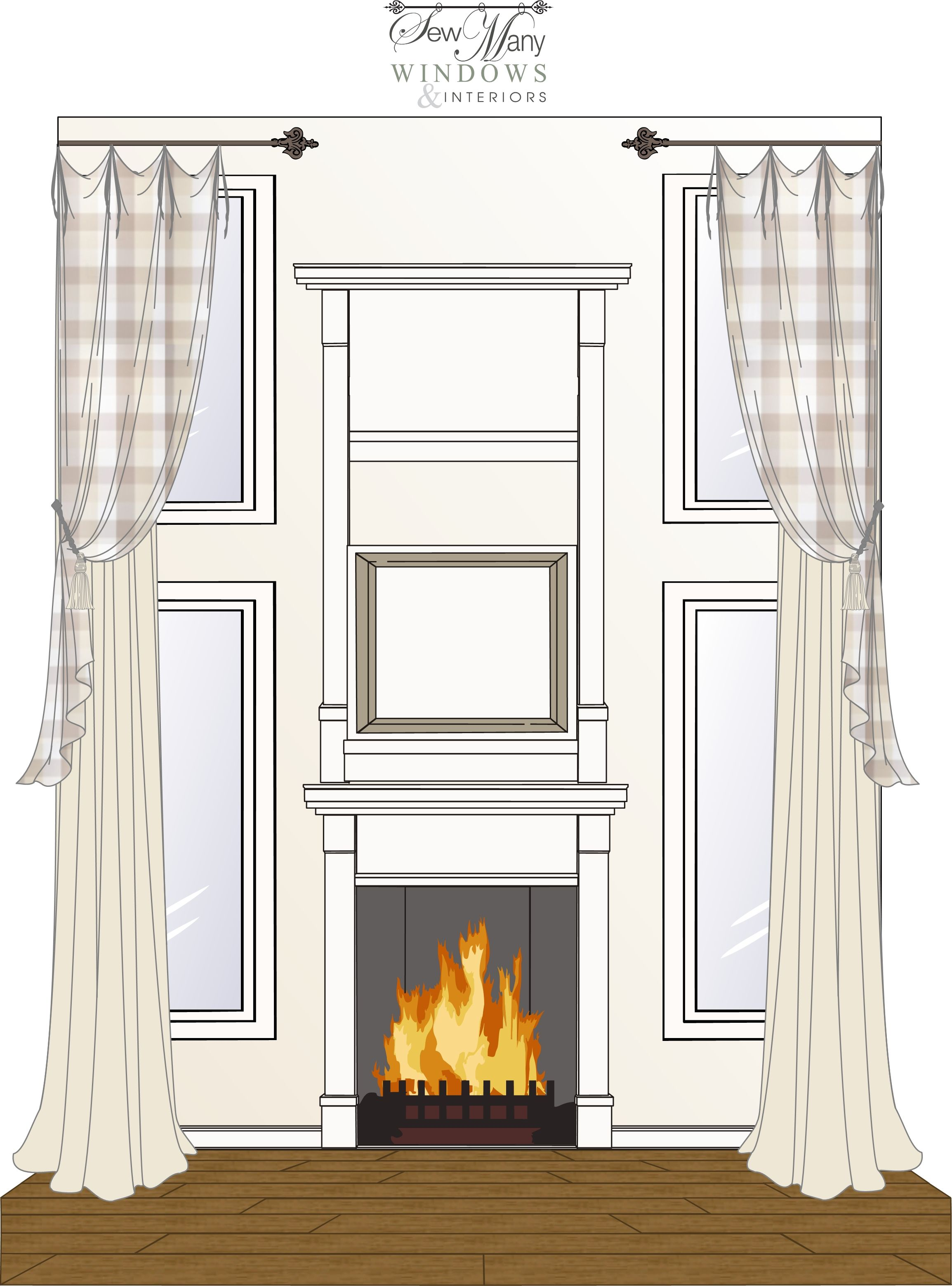 Great Room Two Story Window Treatment Design Tie Top: great room curtain ideas