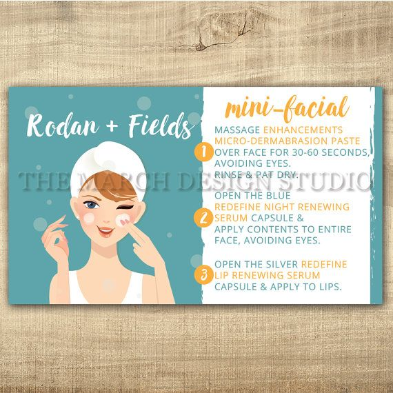 Rodan and Fields Mini Facial Cards, Instant Download, Rodan and ...