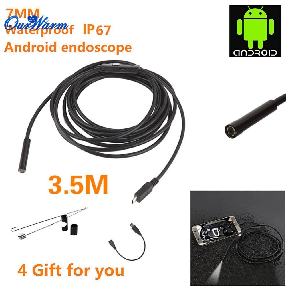 6 LED 7mm Lens Android USB Endoscope Waterproof Inspection Borescope ...