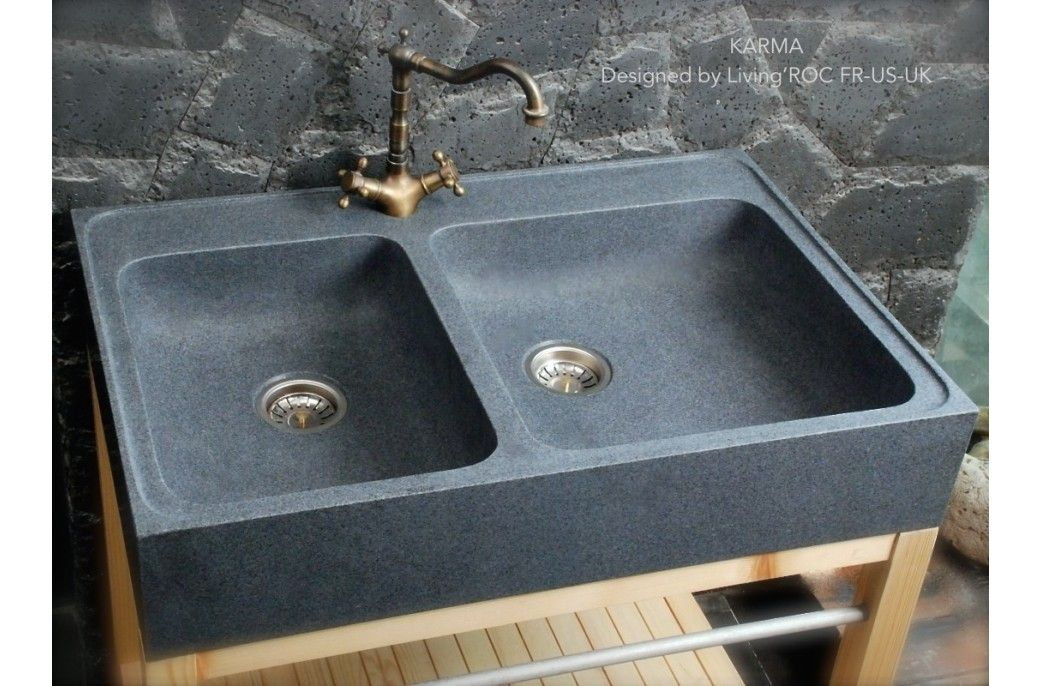 900mm Genuine Granite Stone FarmHouse Kitchen Sink - KARMA kitchen - evier cuisine en pierre