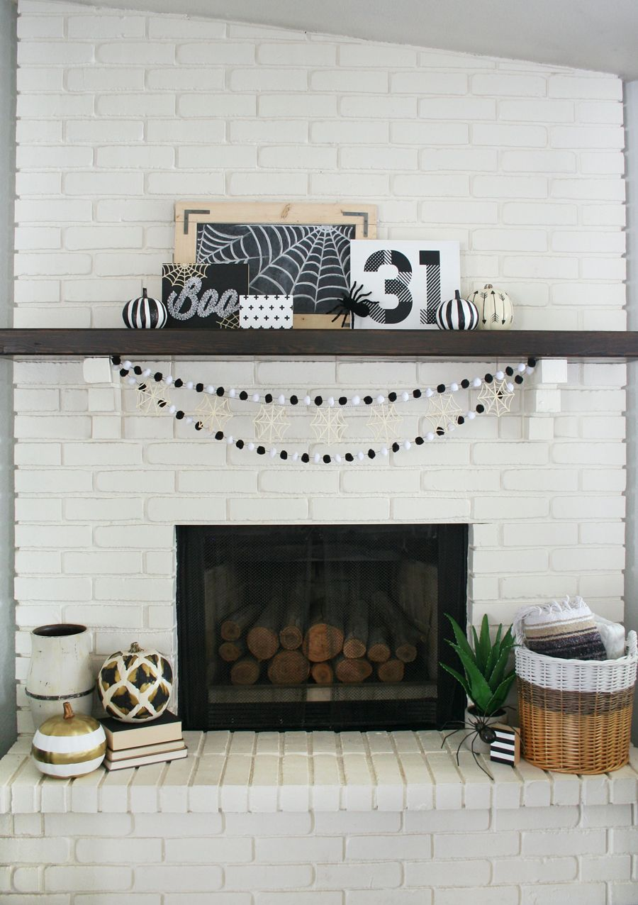 The Creative Collection Link Party Black white halloween, Mantels - black and white halloween decorations