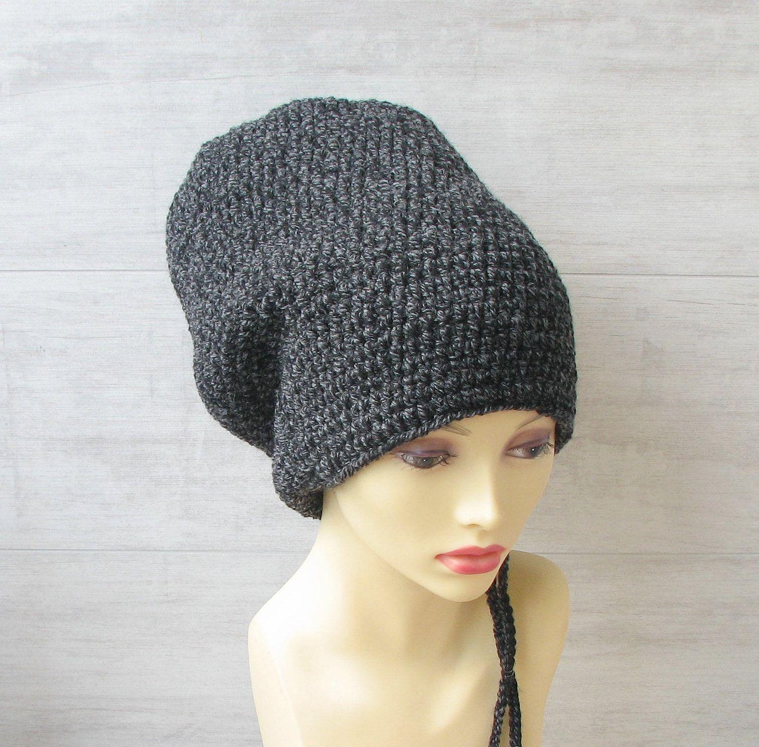 Baggy slouchy beanie Oversized hat Winter wool beanie Big head hat  XXL hat Unisex slouchy beanie Hat for dreadlocks Dreadlock beanie hat
