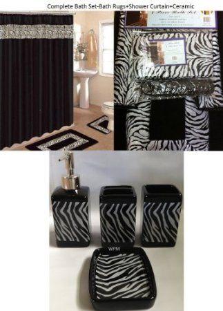 19 Piece Bath Accessory Set Black Zebra Animal Print Bath Rug Set