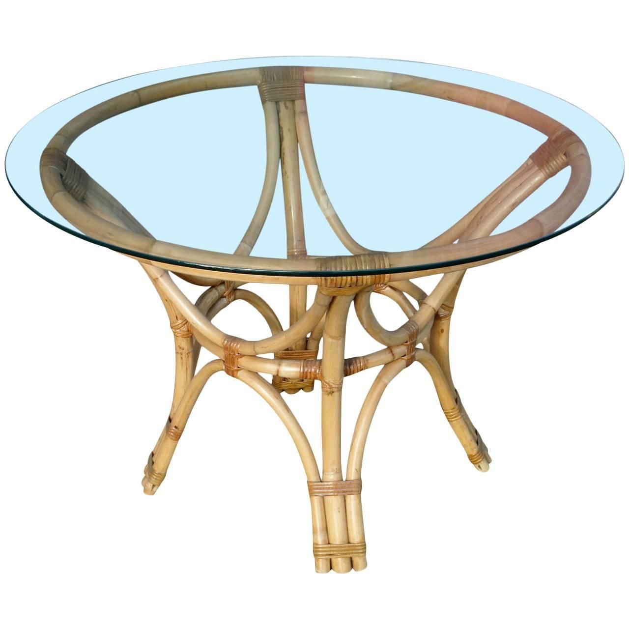 Groovy Restored Rattan Bentwood Dining Table With Round Glass Top Gmtry Best Dining Table And Chair Ideas Images Gmtryco