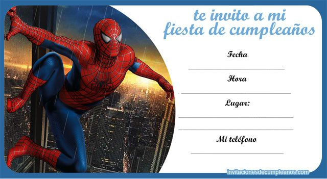 invitaciones spiderman Proyectos que intentar Pinterest Spiderman, Spider man party and