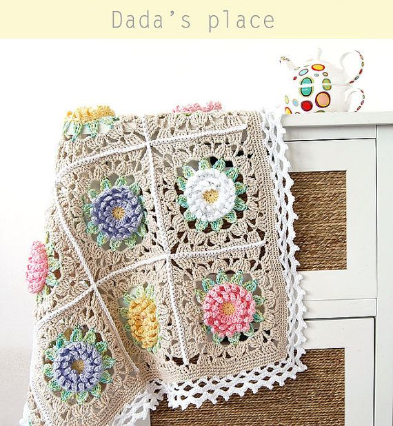 Floral blanket PDF pattern/Floral baby blanket/English Garden Baby ...