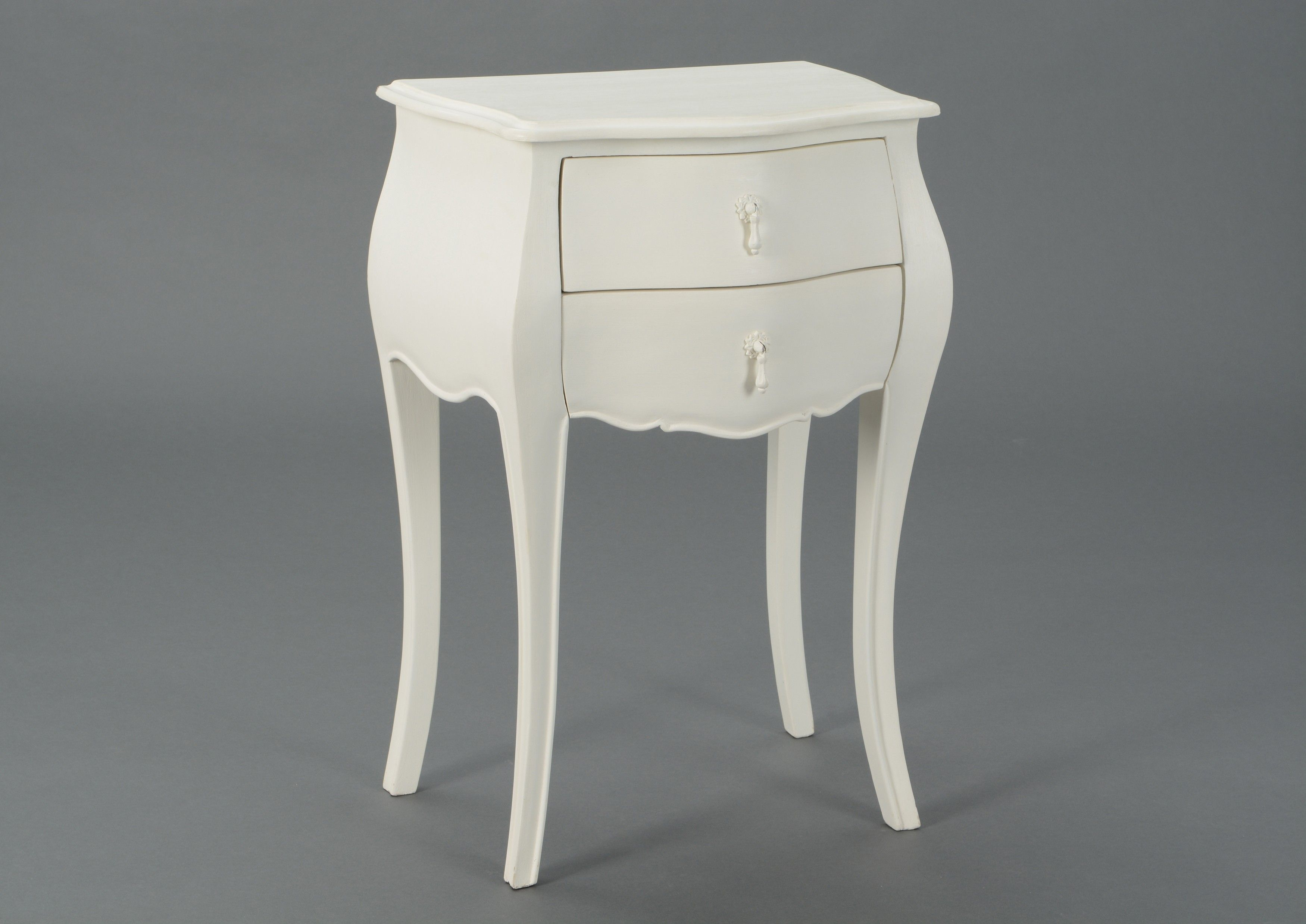 Table D Appoint Baroque Crème Antique 2 Tiroirs Murano