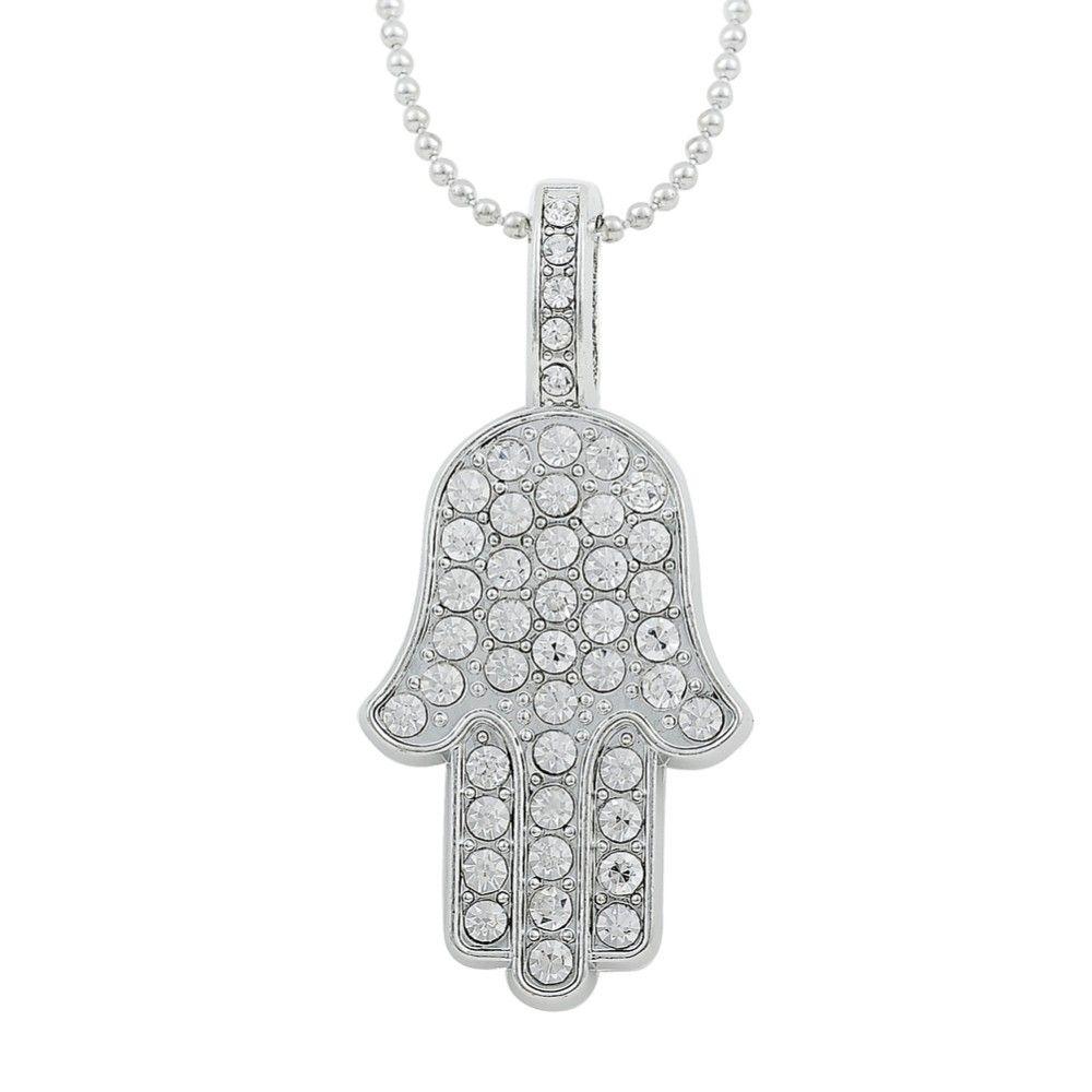 Schicken Mehr Kette Halsketten Information Uber Dawapara Gluck Hamsa Hand Anhanger Fatima Hand Palm Kristall Halsketten Fur Frauen High Quality Crystal Necklac