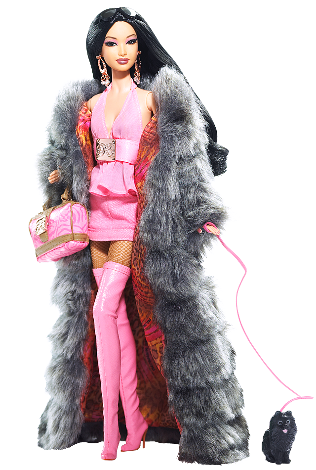 KIMORA LEE SIMMONS Barbie (2008) epitomizes the Baby Phat founder and designer's hip, street-glam flair! Created under the direction of Kimora Lee Simmons, a former model turned fashion/lifestyle entrepreneur, this dark-haired diva is dressed in a fabulous hot pink outfit, topped with a full-length faux chinchilla coat. Upping the cool quotient are bold, over-the-top accessories like pink thigh-high boots, earrings and a designer bag. The cutest accessory of all: Her adorable little dog…