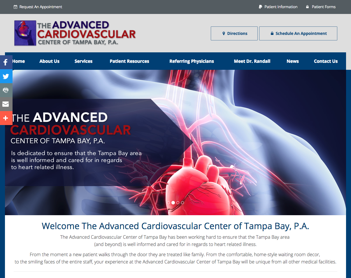 Http Www Advancedcardio Com The Advanced Cardiovascular Center Of Tampa Bay Cardiologist Tampa St Pete Cardiologist Medical Website Design Cardiovascular