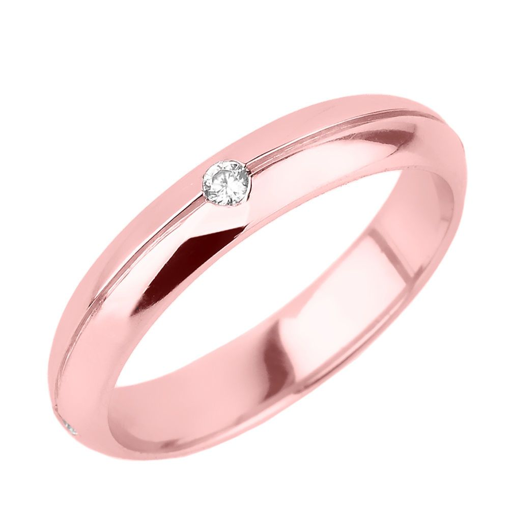 12 DIAMOND 14KT ROSE GOLD WEDDING BAND Comfort Fit Made in the USA ...