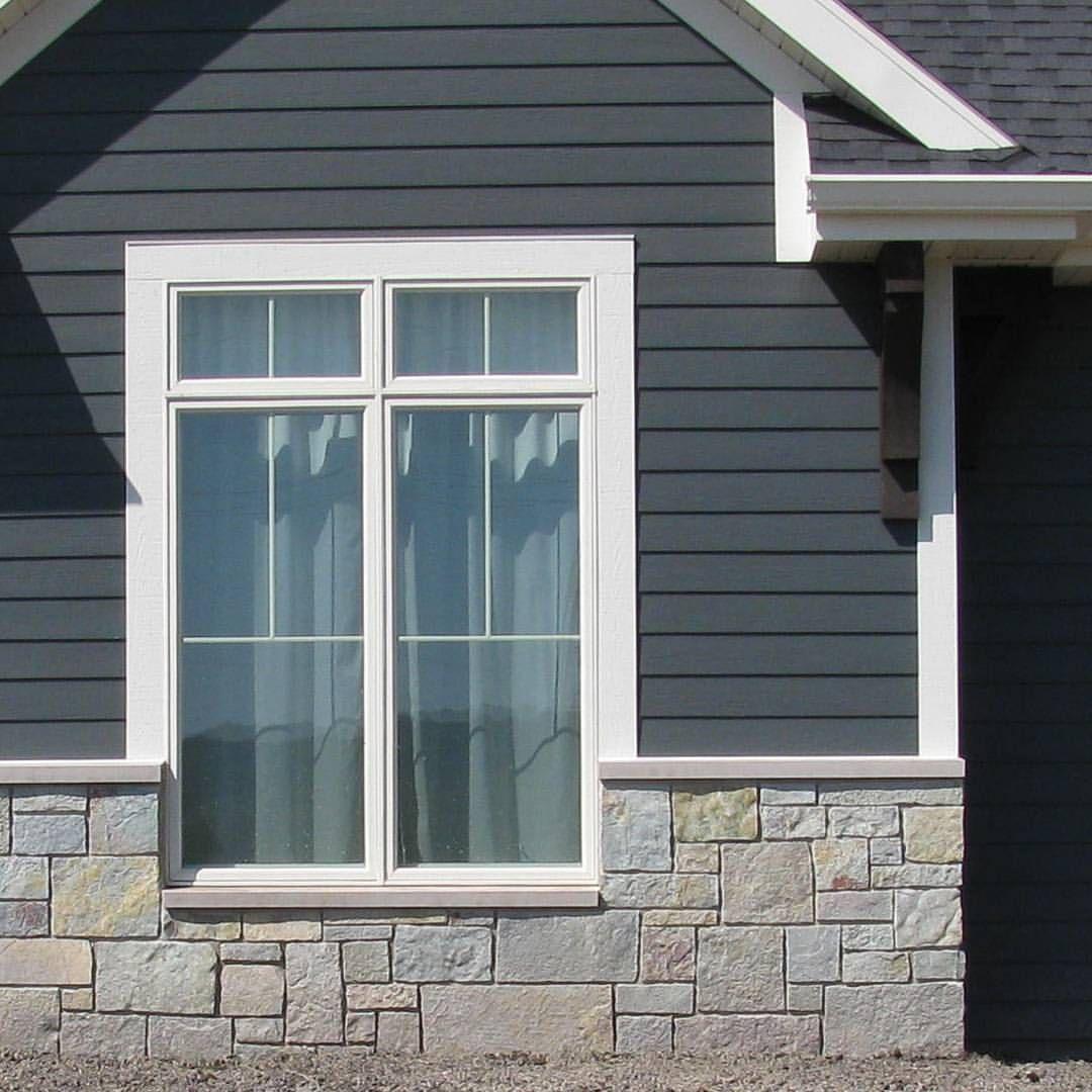 Stone And Dark Siding House Paint Exterior Exterior House Siding Exterior Siding Colors