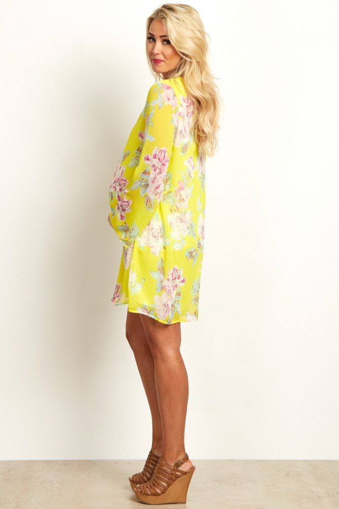 Yellow Fl Printed V Neck Chiffon Dress