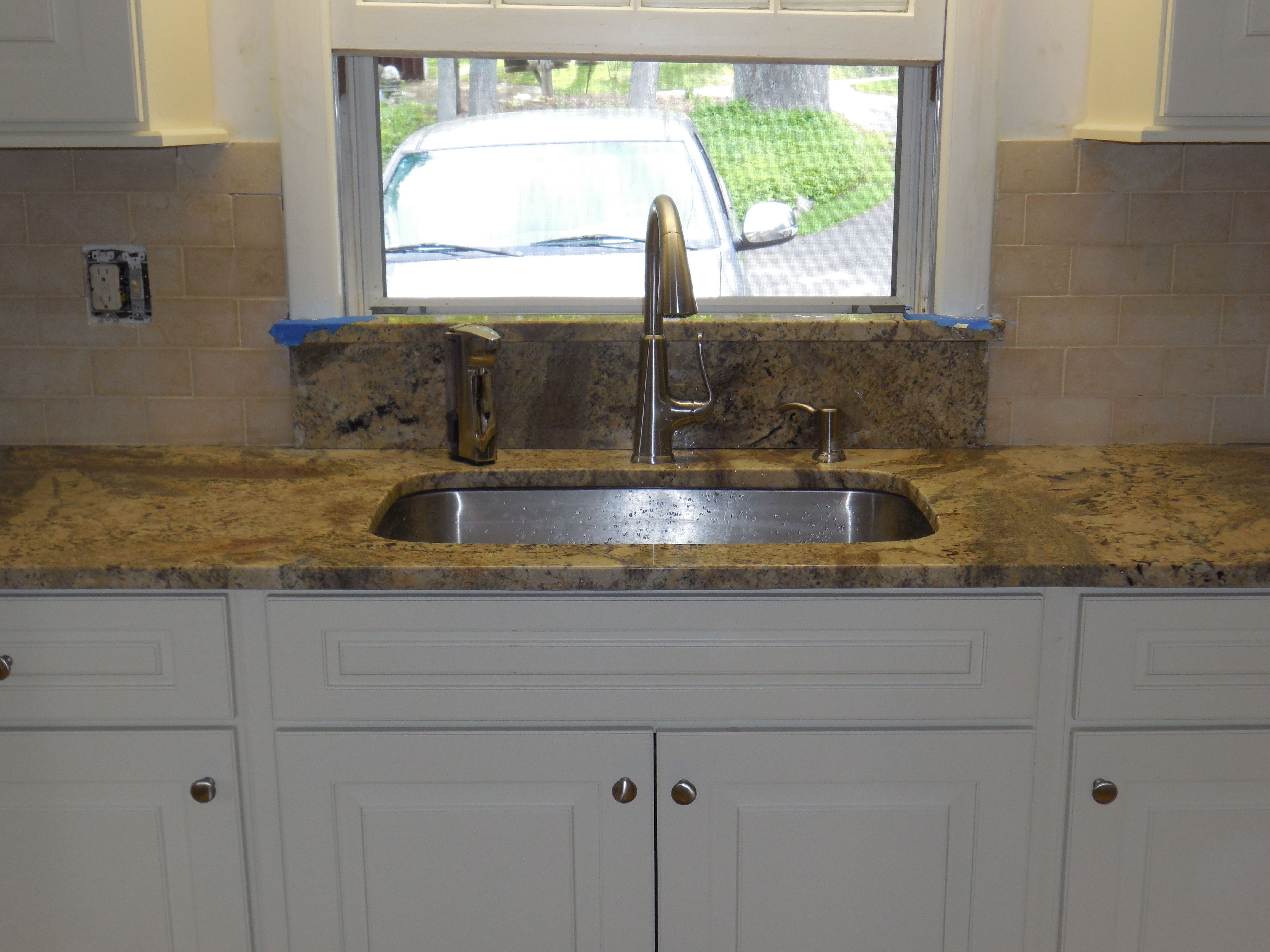 Kitchen Sink With Backsplash Lowes Trash Cans Undermount Granite Window Sill Limestone