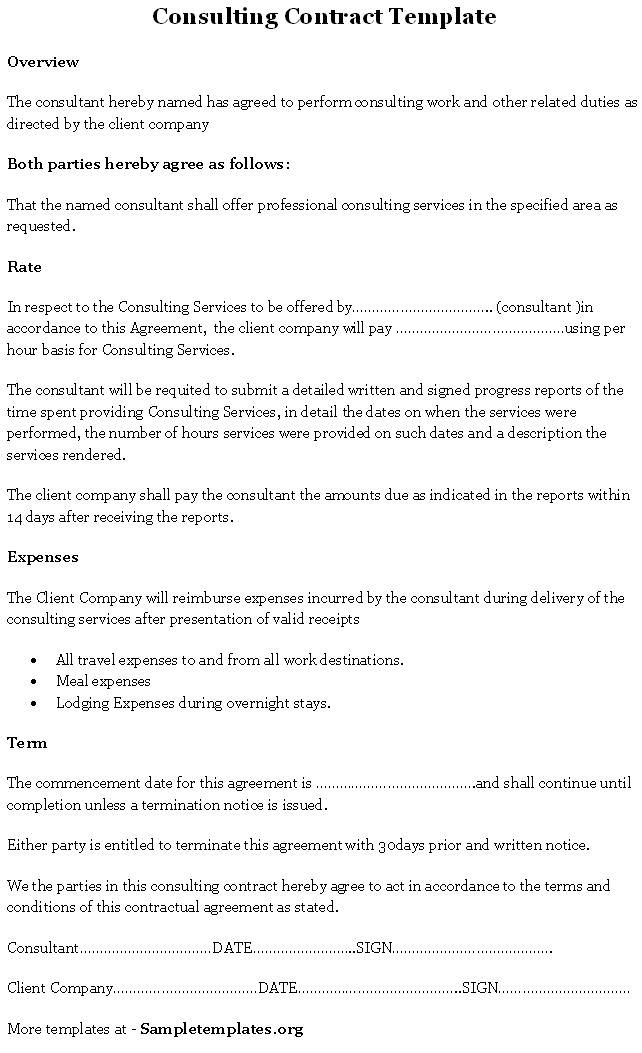 Consulting Contract Template Sample Templates Templates, Sample