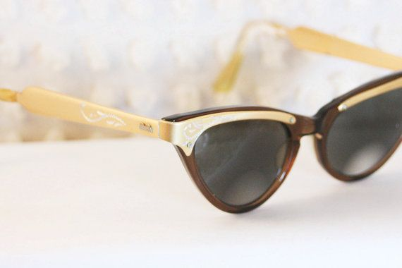 Satin Gold Browline 1960's Eyeglasses Etched Aluminum Brown Frame Optical by S R O