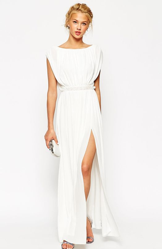 dddf22b81d4 long-white-bridesmaid-dress-with-belt-asos