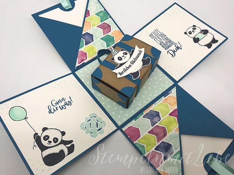 explosionsboxen mit panda basteln und stempeln mit stampinup produkten fr hjahr sommerkatalog. Black Bedroom Furniture Sets. Home Design Ideas
