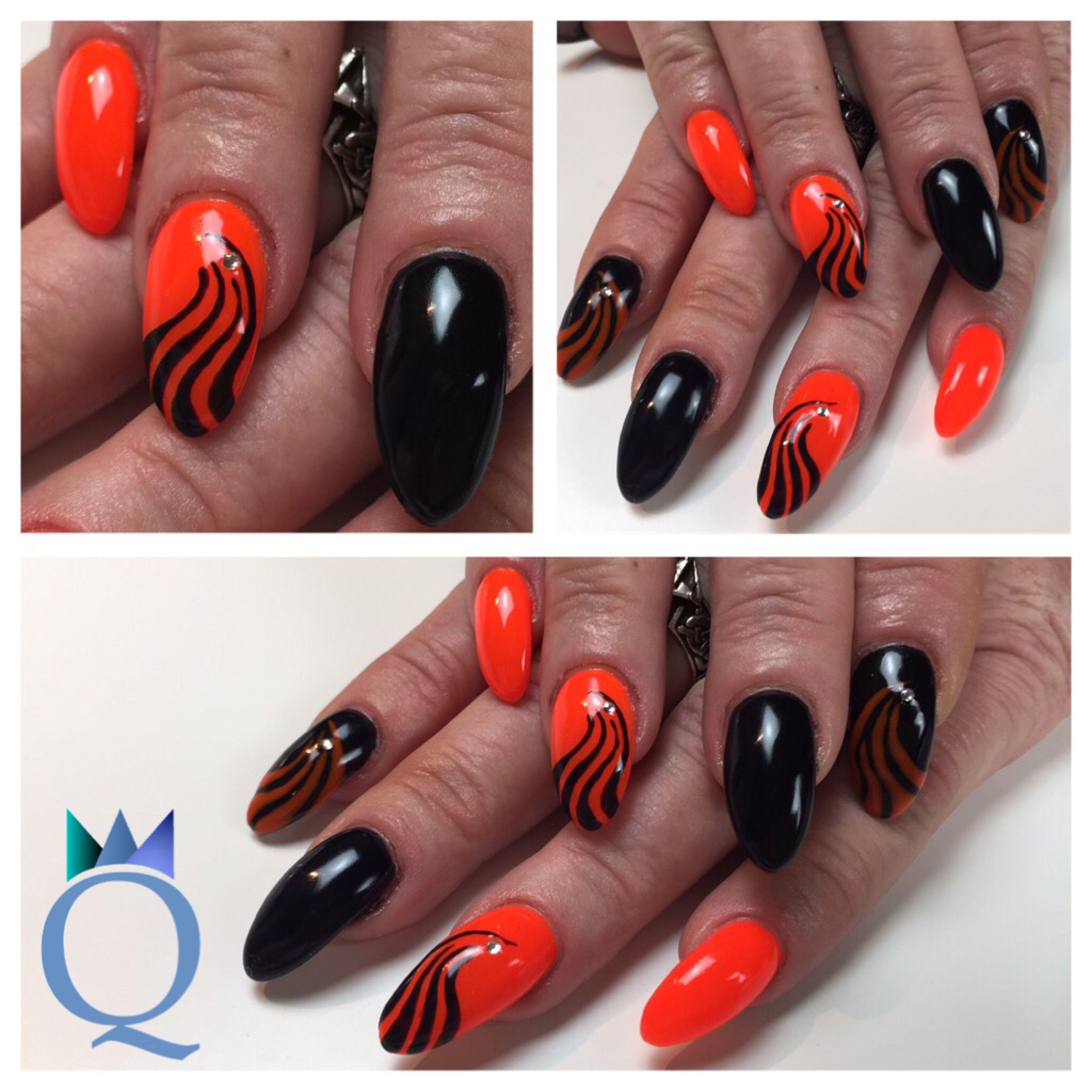 almondnails #gelnails #nails #neonorange #black #handpainted ...