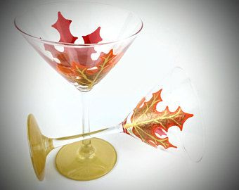 fall leaf hand painted martini glasses unique martini glass autumn gold martini glasses martini gift martini collectibles - Christmas Martini Glasses