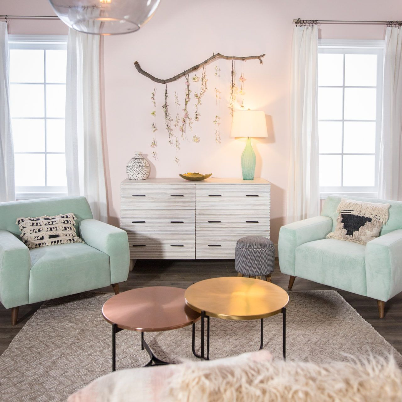 Pale Pink And Mint Pastels For An But Fun Y Living Room Mr Kate Design Vs Makeover Compeion