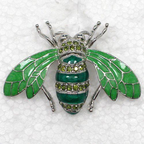 Crystal Enamel Honey Bee Rhinestone Pin