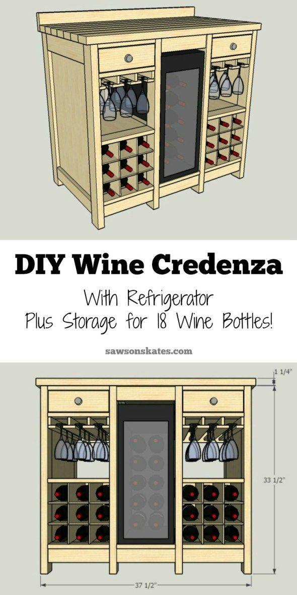 Diy Wine Credenza With Refrigerator Wine Storage