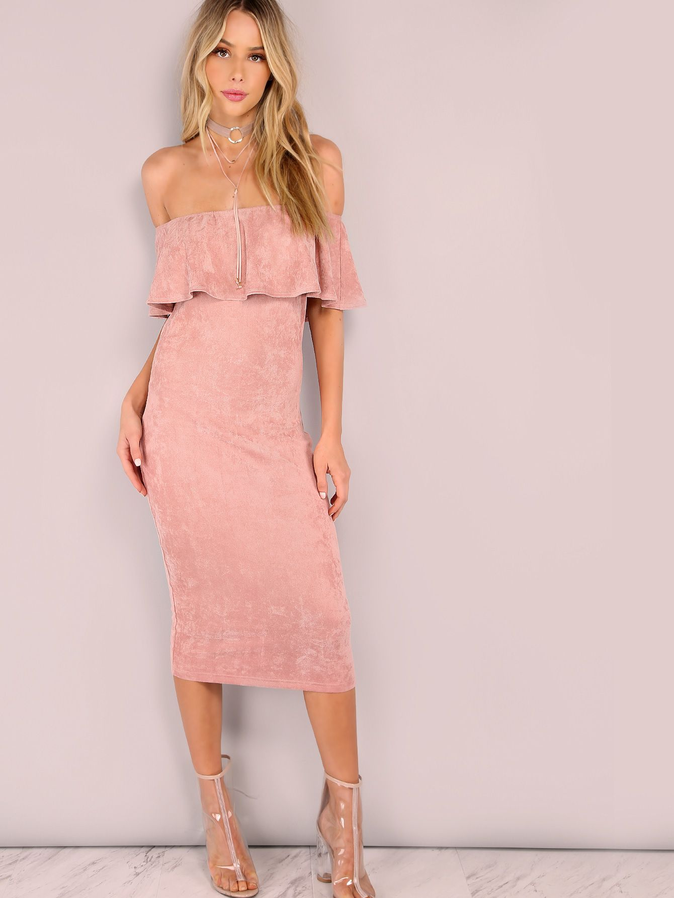 Shop Pink Suede Off The Shoulder Ruffle Dress online. SheIn offers ...