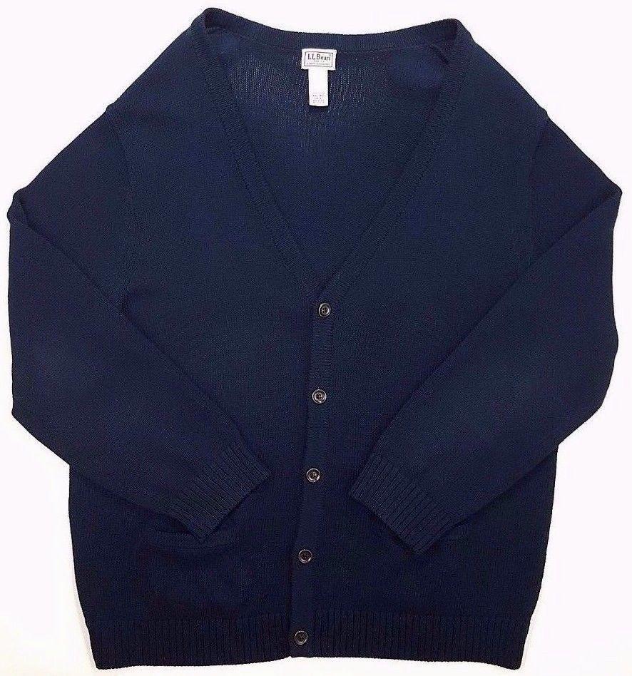 LL Bean CARDIGAN Sweater 2XL Mens NAVY Blue COTTON Sz SIZE Regular ...