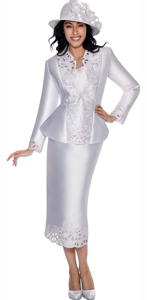 Gmi G6073 White Cut Out Design Skirt Suit For Church With Peplum