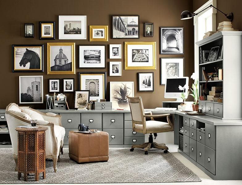 brown home office with gallery wall chic home diy m bel wohnen und m bel. Black Bedroom Furniture Sets. Home Design Ideas